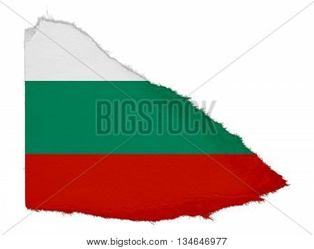 Flag Of Bulgaria Torn Paper Scrap Isolated On White Background