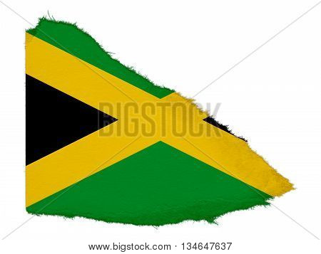 Flag Of Jamaica Torn Paper Scrap Isolated On White Background