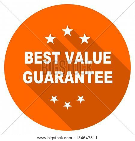 best value guarantee vector icon, orange circle flat design internet button, web and mobile app illustration