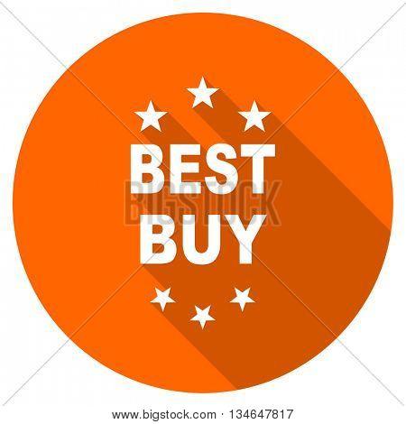 best buy vector icon, orange circle flat design internet button, web and mobile app illustration