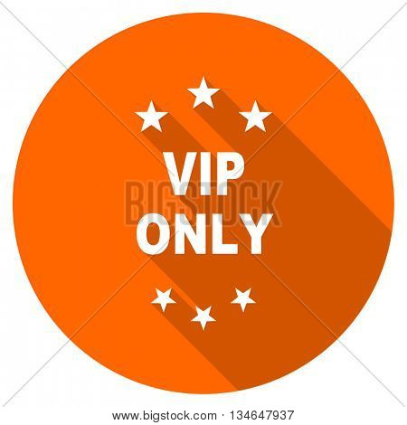 vip only vector icon, orange circle flat design internet button, web and mobile app illustration