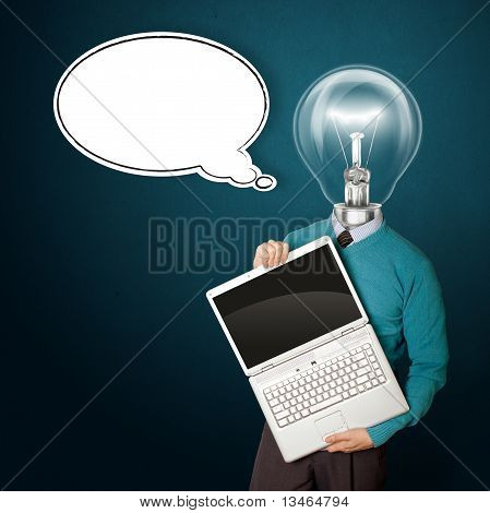 Male With Lamp-head In Blue With Laptop And Comics Bubble