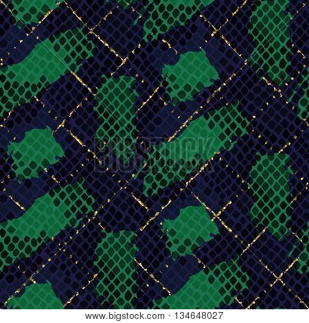 Snake skin green seamless vector texture. Blue and green tone colors snake pattern ornament for textile fabric. Artificial reptile leather pattern with brush strokes and gold details.