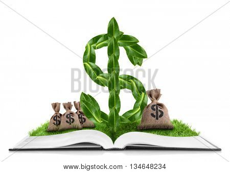 Book with dollar sign made of green leaves and sacks with money isolated on white