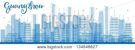 Outline Guangzhou Skyline with Blue Buildings. Vector Illustration. Business Travel and Tourism Concept with Guangzhou City.