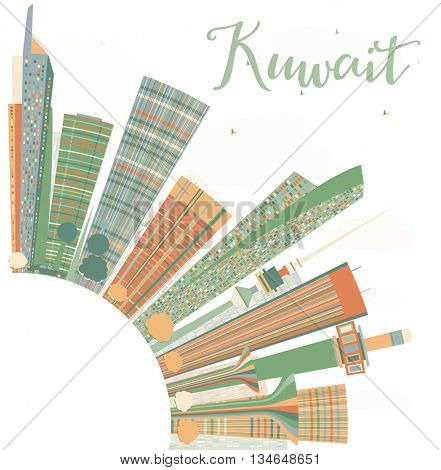 Abstract Kuwait City Skyline with Color Buildings. Vector Illustration. Business Travel and Tourism Concept with Copy Space.