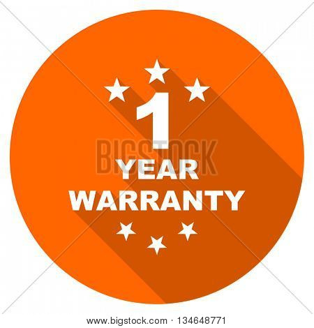 warranty guarantee 1 year vector icon, orange circle flat design internet button, web and mobile app illustration