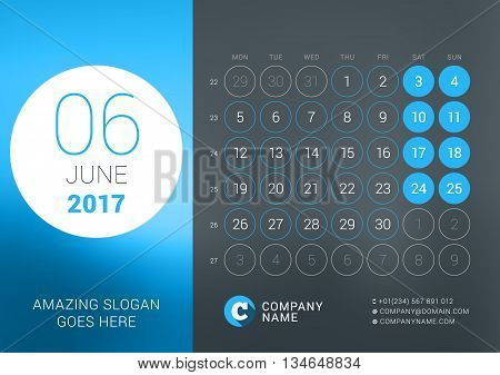 Calendar Template For June 2017. Vector Design Print Template With Place For Photo, Company Logo, Sl