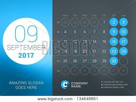 Calendar Template For September 2017. Vector Design Print Template With Place For Photo, Company Log