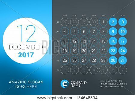 Calendar Template For December 2017. Vector Design Print Template With Place For Photo, Company Logo