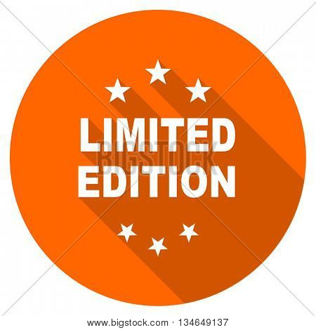 limited edition vector icon, orange circle flat design internet button, web and mobile app illustration
