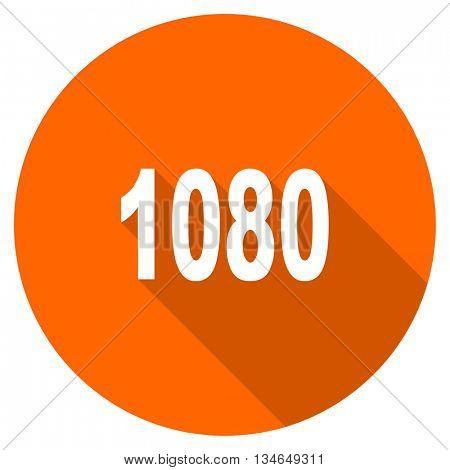 1080 vector icon, orange circle flat design internet button, web and mobile app illustration