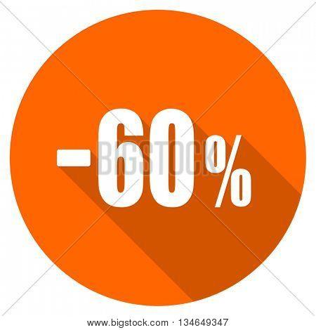 60 percent sale retail vector icon, orange circle flat design internet button, web and mobile app illustration