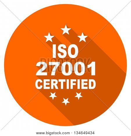 iso 27001 vector icon, orange circle flat design internet button, web and mobile app illustration