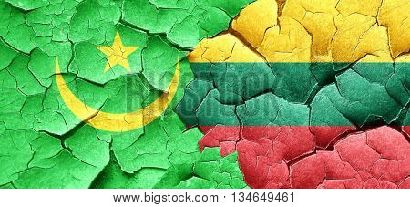 Mauritania flag with Lithuania flag on a grunge cracked wall