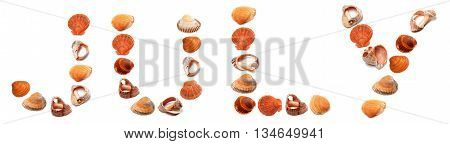 July Text Composed Of Seashells