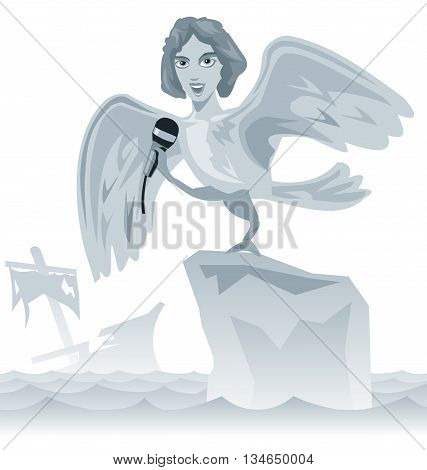 Singing a siren. Ancient Greece. Iliad the story of the odyssey Greek art. Vector flat illustration.