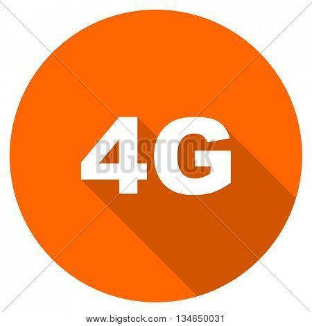 4g vector icon, orange circle flat design internet button, web and mobile app illustration
