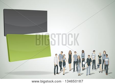 Vector banners / backgrounds with business people. 3d design. Text box frames.
