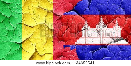 Mali flag with Cambodia flag on a grunge cracked wall