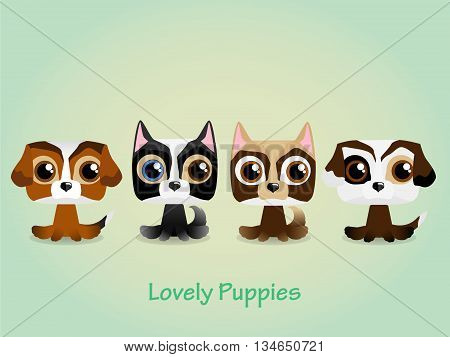 Cute funny lovely puppies. Vector illustration. Background
