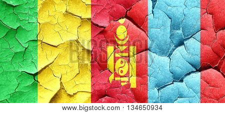 Mali flag with Mongolia flag on a grunge cracked wall