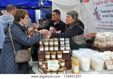Jouy en Josas France - june 5 2016 : gastronomic market in Viltain farm