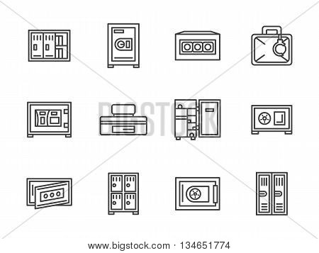 Metal cupboard, cabinets, lockers and safes for securing personal items. Equipment and furniture for office, stores and markets, school and gym. Vector collection of simple black line style icons.
