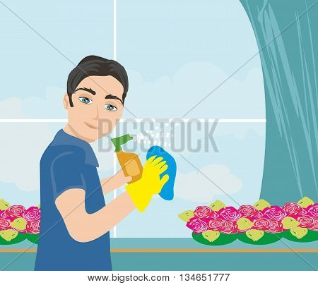 worker man cleaning the window , vector illustration
