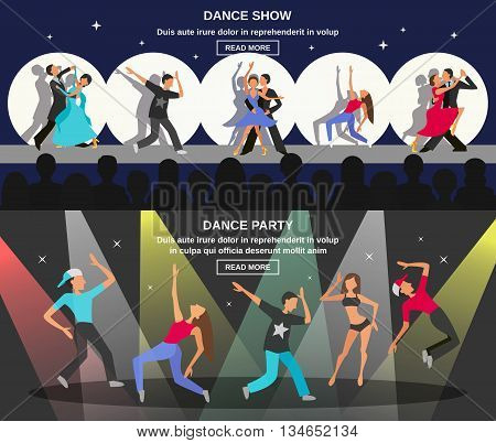 Color flat horizontal banner depicting figure of dancing people at party or show vector illustration