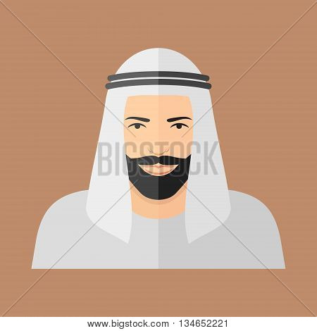 Arabian man face flat icon. Male bearded character. Vector illustration.