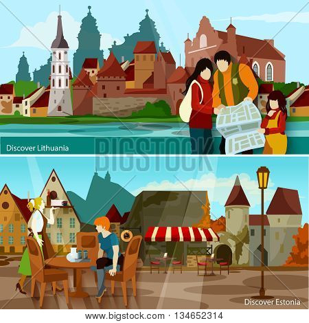 European Cityscapes Flat Concept. Europe And Sights Horizontal Compositions. European Cities Vector Illustration. European Countries Isolated Set. Discover Lithuania And Estonia Design Symbols.