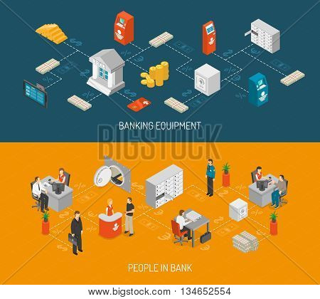 Bank Isometric Concept. Bank Horizontal Banners. Bank Vector Illustration. Bank Set. Bank Design Symbols.Bank Elements Collection.