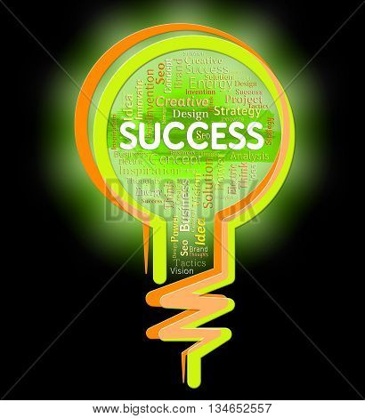 Success Lightbulb Represents Victor Winner And Prevail