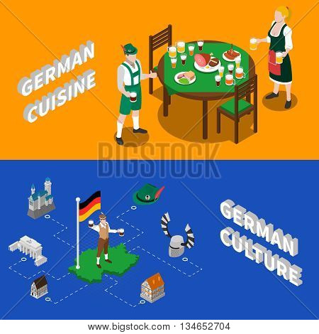 German culture for tourists 2 isometric banners with traditional national cuisine dishes and sightseeing abstract vector illustration
