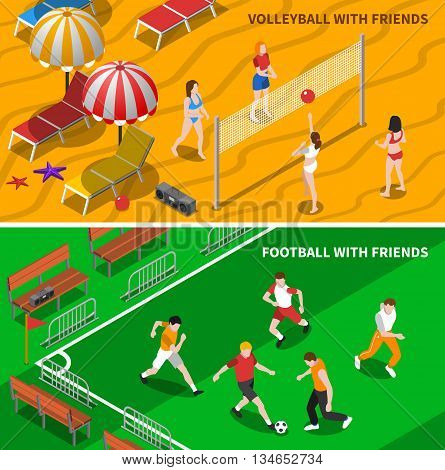 Football and volleyball teams playing playing game with friends 2 isometric banners composition poster abstract isolated vector illustration