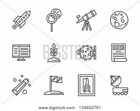 Rocket, Mars and Moon, rover robot and equipment for scientific exploration of space. Cosmos and aerospace theme. Vector collection of simple black line style icons.