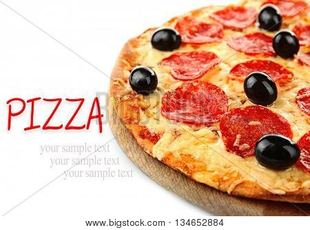 Pepperoni pizza with olives, isolated on white