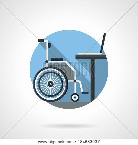 Side view of wheelchair and table with laptop. Workplace for disabilities. Distance education and job concept. Round detailed flat color vector icon. Web design element for business, site, mobile app.