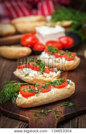 Delicious Bruschetta With Tomatoes, Feta Cheese, Dill And Spice