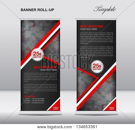 Red Roll up banner stand template advertisement design