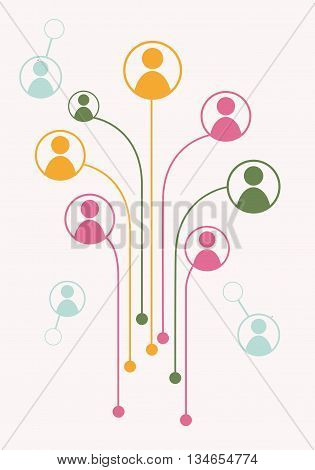 Avatars in circles connected with dot by line. Vector illustration of growth tree for communication business relations social media technology global village community connections. Flat design
