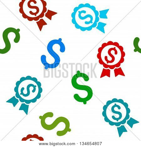 Featured Price Label vector seamless repeatable pattern. Style is flat featured price label and dollar symbols on a white background.