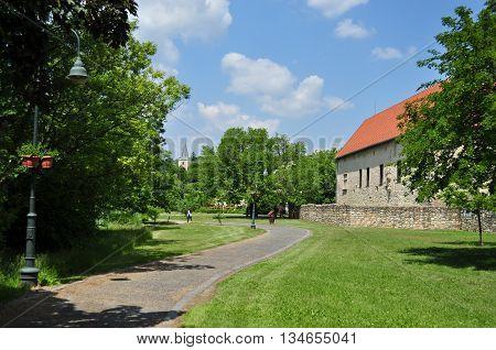 Public park in Szerencs Rakoczi Castle landscape