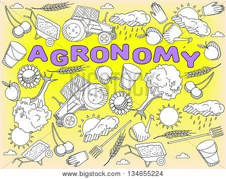 Vector line art Doodle set of cartoon characters and objects Agronomy. Coloring Book