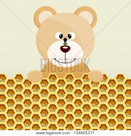 Scalable vectorial image representing a teddy bear and bee background.