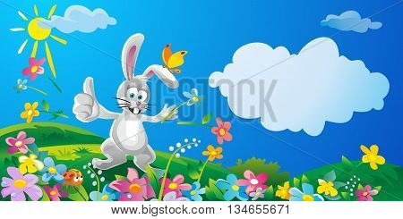 Happy bunny throwing flowers. Nature field with green grass flowers at meadow and water drops dew on green leaves. Summer sunny landscape. Vector flat illustration.