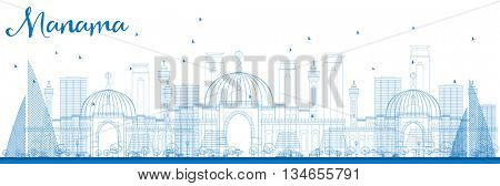Outline Manama Skyline with Blue Buildings. Vector Illustration. Business Travel and Tourism Concept with Modern Buildings. Image for Presentation Banner Placard and Web Site.