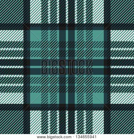 Seamless tartan pattern. Plaid blue black white palette repeated tartan pattern. Twill texture Vector illustration.