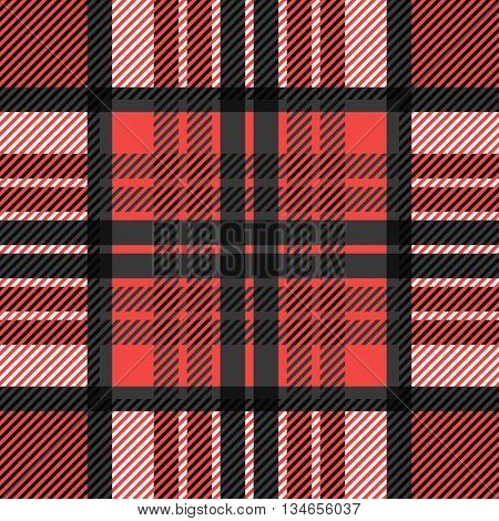 Seamless tartan pattern. Plaid red black white palette repeated tartan pattern. Twill texture Vector illustration.
